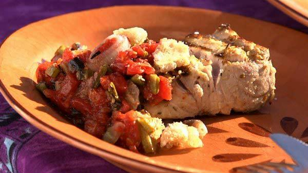 Grilled Yellowtail with Charred Tomato-Nopal Salsa