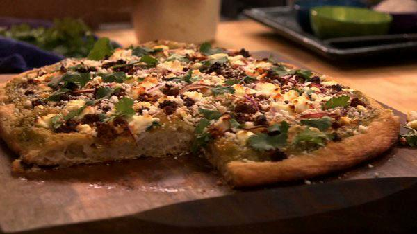 Salsa Verde Pizza with Goat Cheese and Bacon