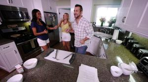Joey Fatone and Dancing with the Stars Kym Johnson Cook with TV Host Rachel Smith
