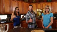 Joey Fatone, Corine Green, and Danae Halliday getting ready to cook up some healthy vegetarian and vegan dishes!