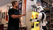 Joey Fatone trying to pull Jedi mind tricks on a Storm Trooper