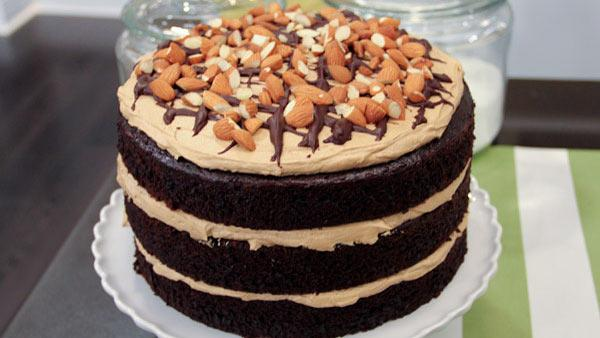 Chloe's Mocha Almond Fudge Cake | Steven and Chris | The Live Well ...