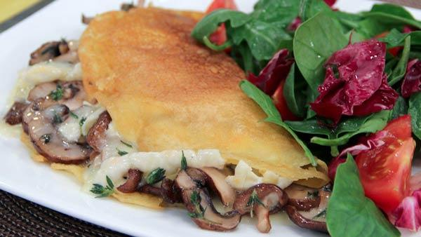 Farinata Crepe with Mushrooms and Cheese