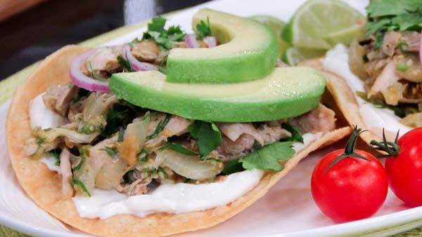 Braised Chicken and Tomatillo Tostadas | Steven and Chris | The Live ...