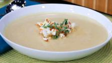 Popcorn Soup with Cheddar Croutons