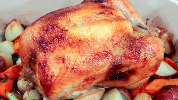 Brined Roast Chicken and Root Vegetables For Two