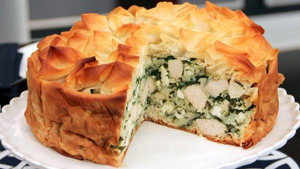 Chicken and Rice Spanakopita