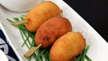 Chorizo Corn Dogs with Grainy Maple Mustard